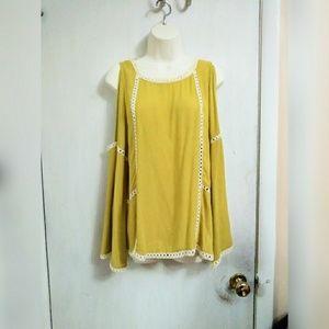 Umgee cold shoulder bell sleeve blouse
